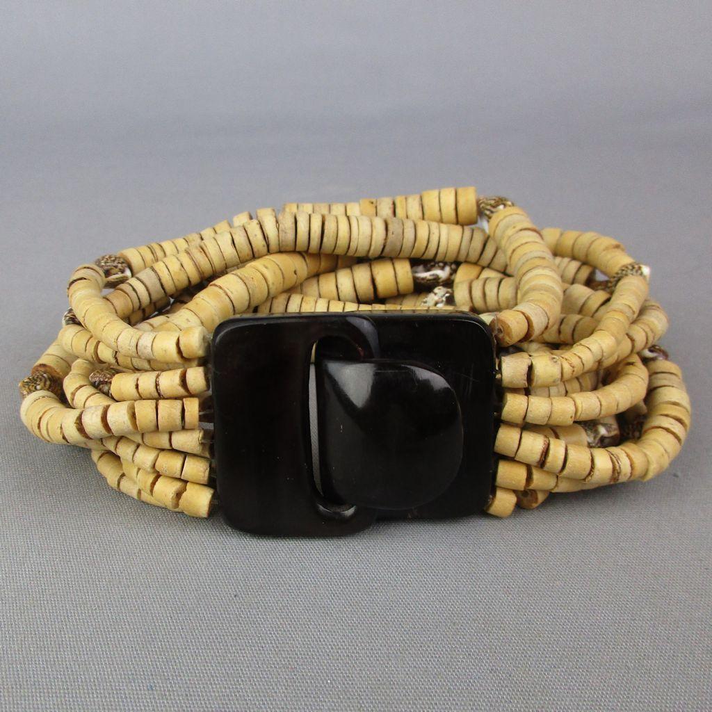 Vintage Gerda Lynggaard Monies Wood - Shell - Horn Bracelet