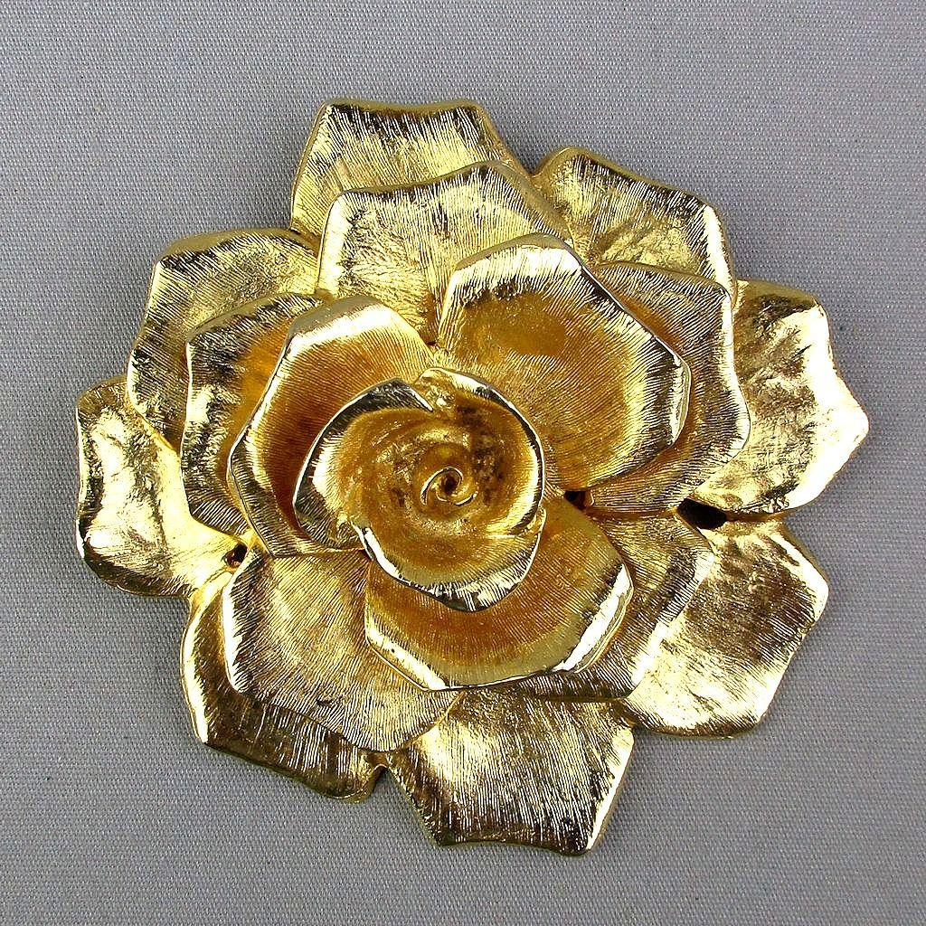 Big Cadoro Gilt Rose Flower Pin - Pendant 3+ Inches
