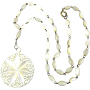 Victorian Mother-of-Pearl Carved Star Necklace Reticulated