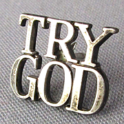 Tiffany & Co. Sterling Silver ~ TRY GOD ~ Lapel Pin