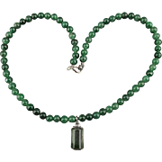 Vintage Jade Bead Necklace w/ Sterling Crystal Drop