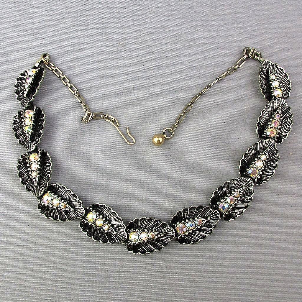 1940s Aurora Borealis Rhinestones on Black Enamel Leaves Necklace