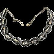 1940s Aurora Borealis Rhinestones on Black Enamel Leaves Necklace