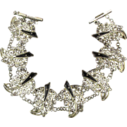 Old Sterling Silver Filigree Bracelet w/ Inlay