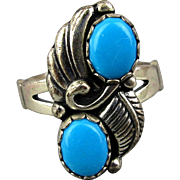 Vintage Sterling Silver Turquoise Ring Signed ~WM~
