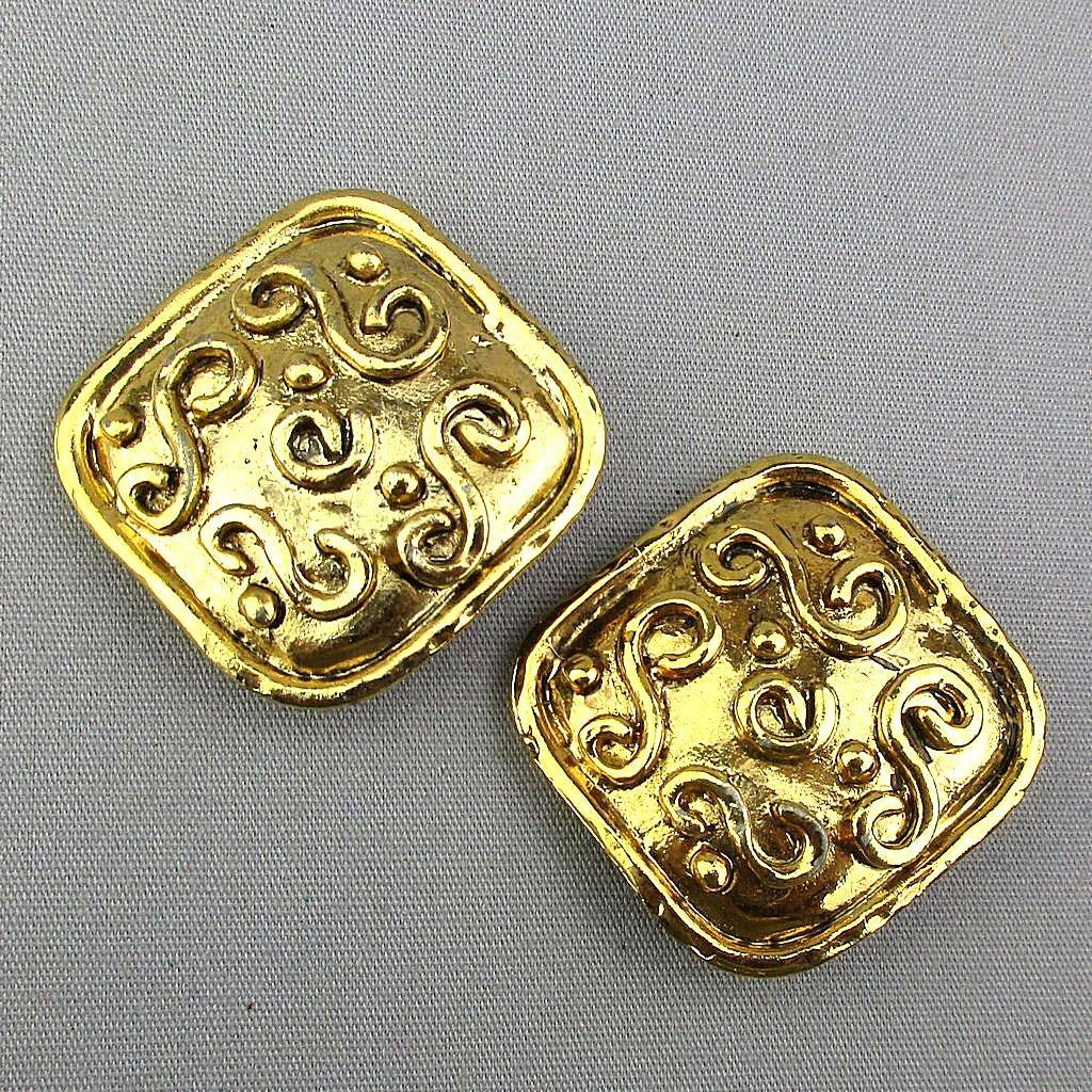 Vintage French Edouard Rambaud Bold Goldtone Clip Earrings