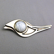 Modernist Sterling Silver Bird Pin w/ Big Agate Eye