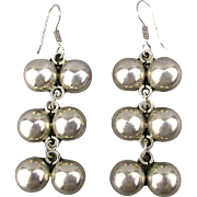 Taxco Sterling Silver Six Dome Dangle Earrings Mexican 925