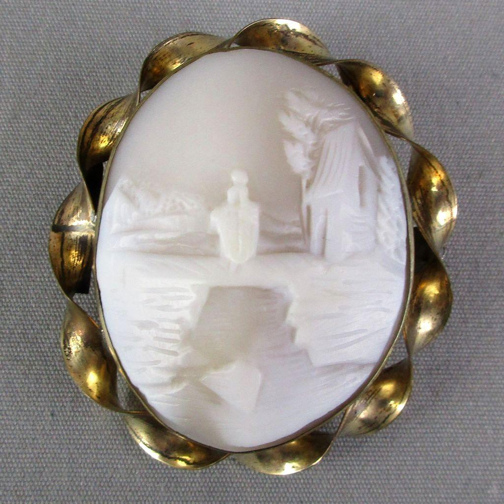 Victorian Carved Shell Scenic Cameo Pin Brooch