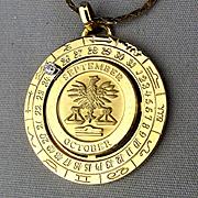 Vintage Pierre Cardin LIBRA Zodiac Pendant Necklace w/ Diamond Date Wheel