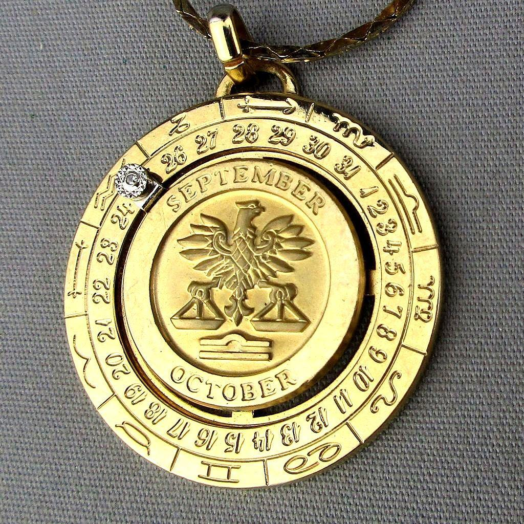 Vintage Pierre Cardin LIBRA Zodiac Pendant Necklace w/ Diamond Date Wheel