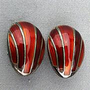 Vintage David Andersen Sterling Silver Enamel Red Clip Earrings - Norway