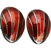 Vintage David Andersen Sterling Silver Enamel Red Clip Earrings - Norway
