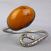 Sterling Silver Cuff Bracelet w/ Big Old Egg Yolk Amber Stone