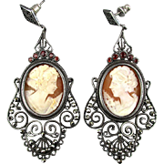 Long Victorian Cameo Earrings Sterling Silver Marcasite Garnets