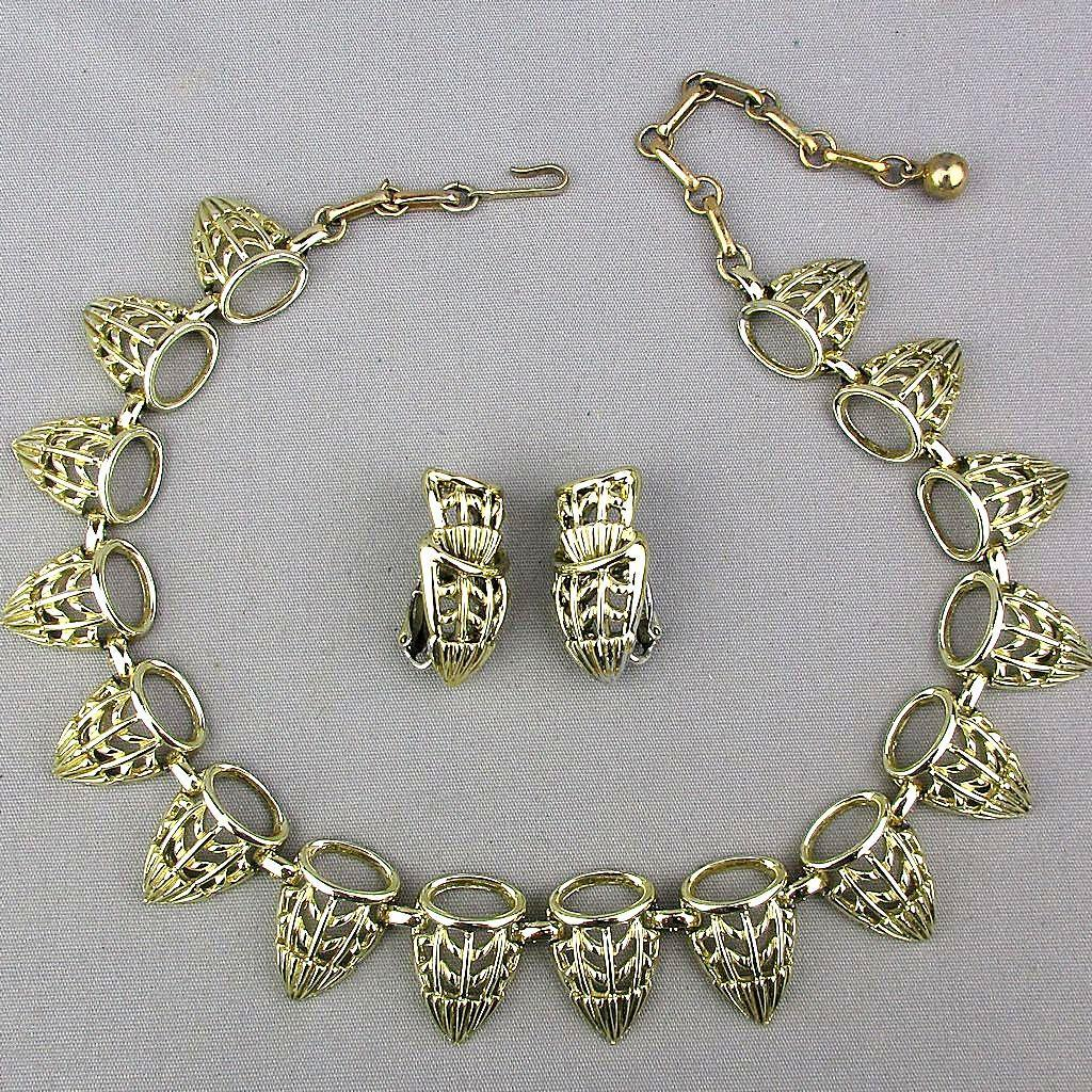 Vintage CORO Necklace Earrings Set Art Deco