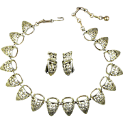 Vintage CORO Necklace Earrings Set Art Deco