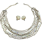 Laguna Multi Chains - Crystal Strands Necklace w/ Clip Earrings Set