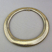 Estate 14K Solid Gold Omega Wide Thick Necklace 74 Grams