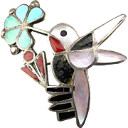 Vintage Zuni Sterling Silver Inlay Bird on Flower Pin Pendant Turquoise Coral