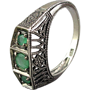 Vintage Sterling Silver Filigree Ring w/ Peridot Trio