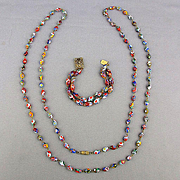 Italian Millefiori Glass Bead Set Necklace Bracelet
