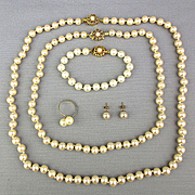 Vintage 5-Piece Faux Pearl Parure Set in Box Queen Anne Collection