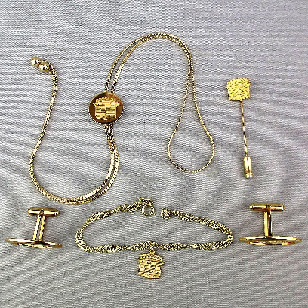 Vintage Cadillac Insignia Jewelry Set His n Hers Cufflinks Necklace More