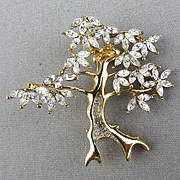 Vintage TREE Pin Swarovski Crystal Leaves