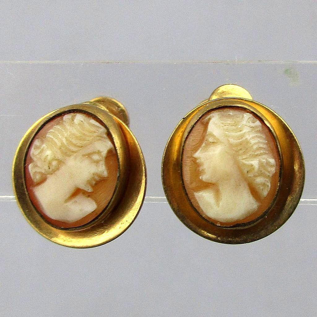 Art Deco Era Mini Carved Shell Cameo Earrings Gold-Filled