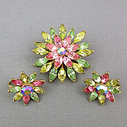 Vintage Trifari Rhinestone Flower Pin - Earrings Set