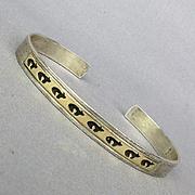 Navajo Sterling Silver 14K Gold Overlay Cuff Bracelet Signed