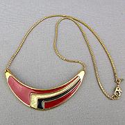 Mod MONET 1960s Enamel Necklace Geometric Sweep