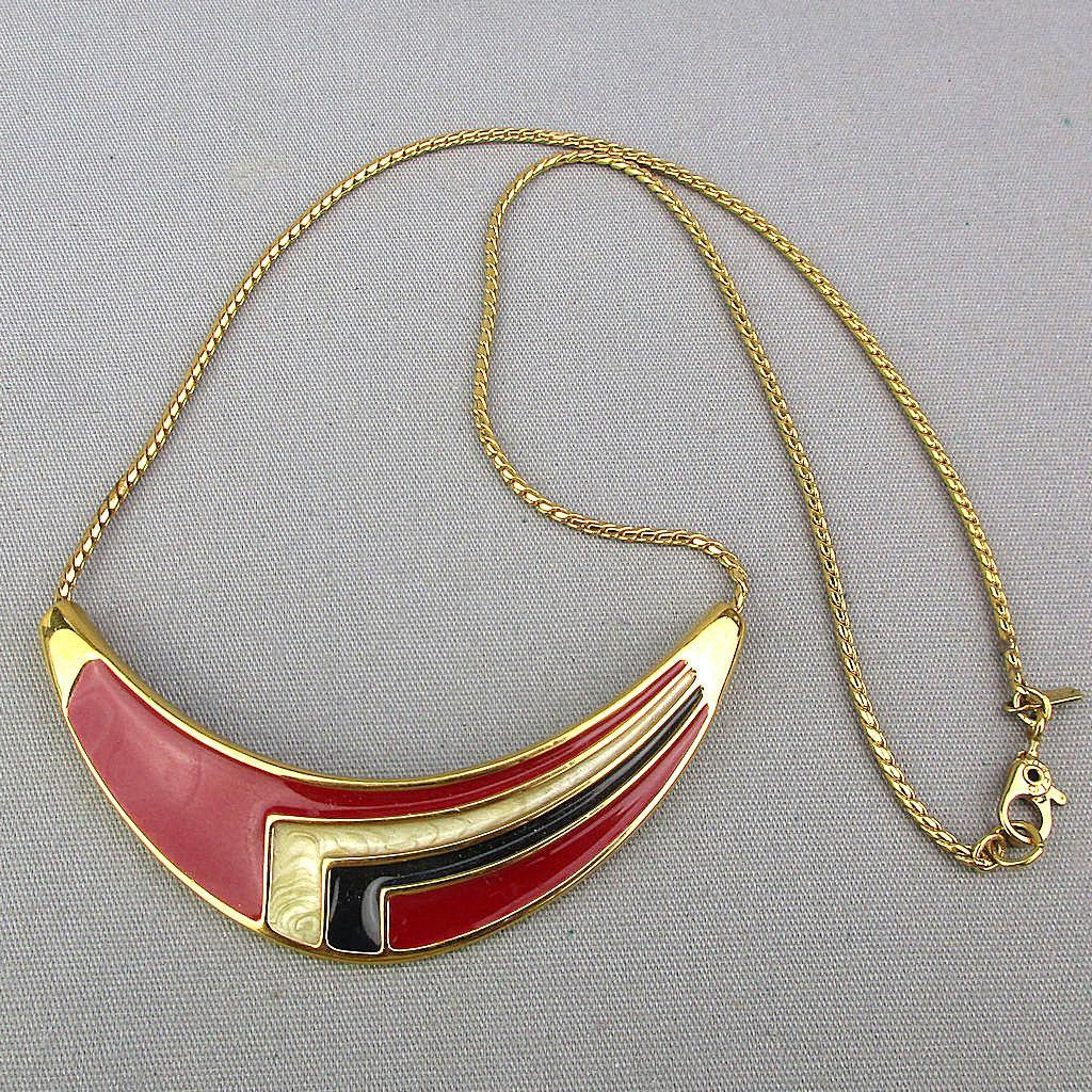 Mod MONET 1960s Enamel Necklace Geometric Sweep