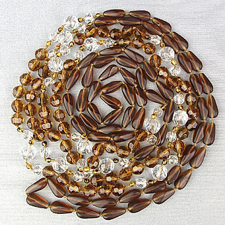Crazy Long Clear / Amber Crystal Necklace Wrap It Up - 104 inches