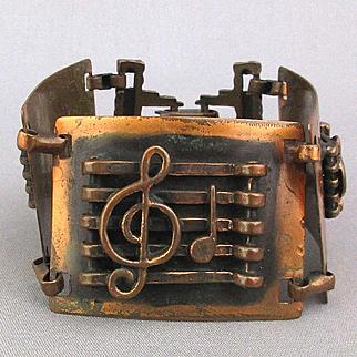 Vintage 1950s Wide Copper Bracelet Musical Clef Notes