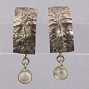 Vintage Sterling Silver 14K Gold Earrings Face w/ Gemstone