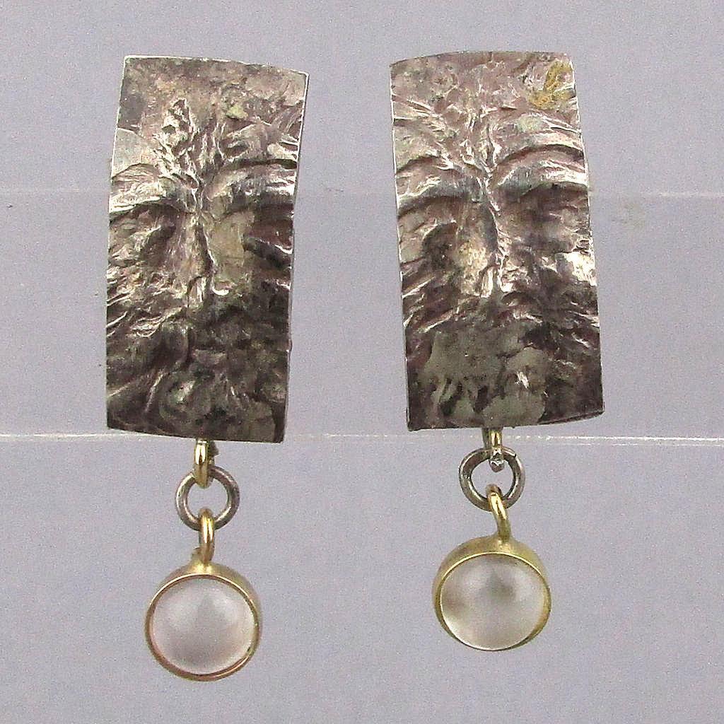 Vintage Sterling Silver 14K Gold Earrings Face w/ Gemstone