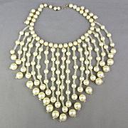 Big Vintage Faux Pearl - Crystal Bead Bib Necklace
