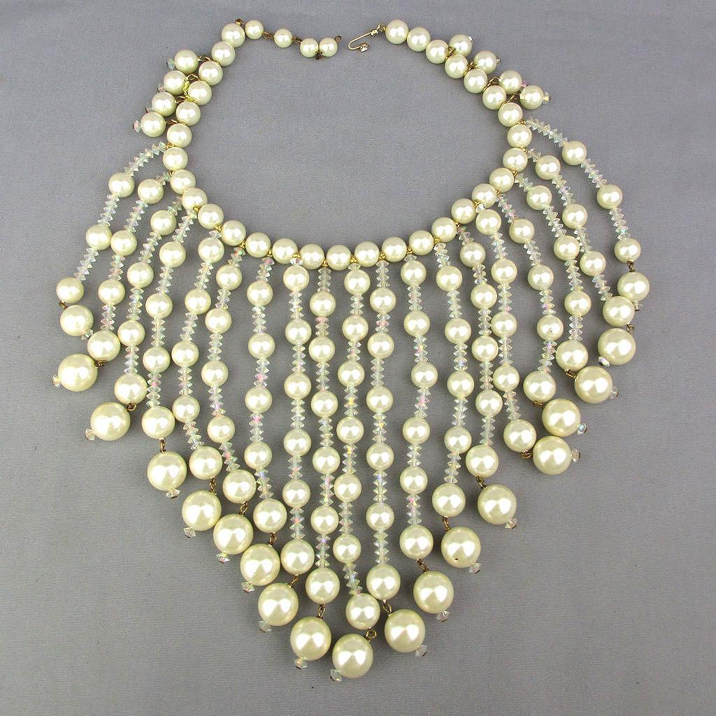 SOLD TO J.T. - Big Vintage Faux Pearl - Crystal Bead Bib Necklace