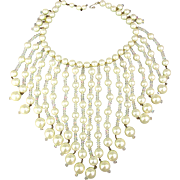 Big Vintage Faux Pearl - Crystal Bead Bib Necklace