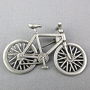 Vintage J.J. Jonette Bicycle Pin Brooch Bike Wheel Turns
