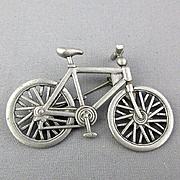 Vintage J.J. Jonette Bicycle Pin Brooch Bike Wheel Turns