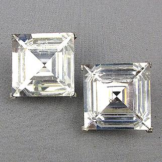 KJL Square Crystal Geometric Faceted Earrings Kenneth Lane