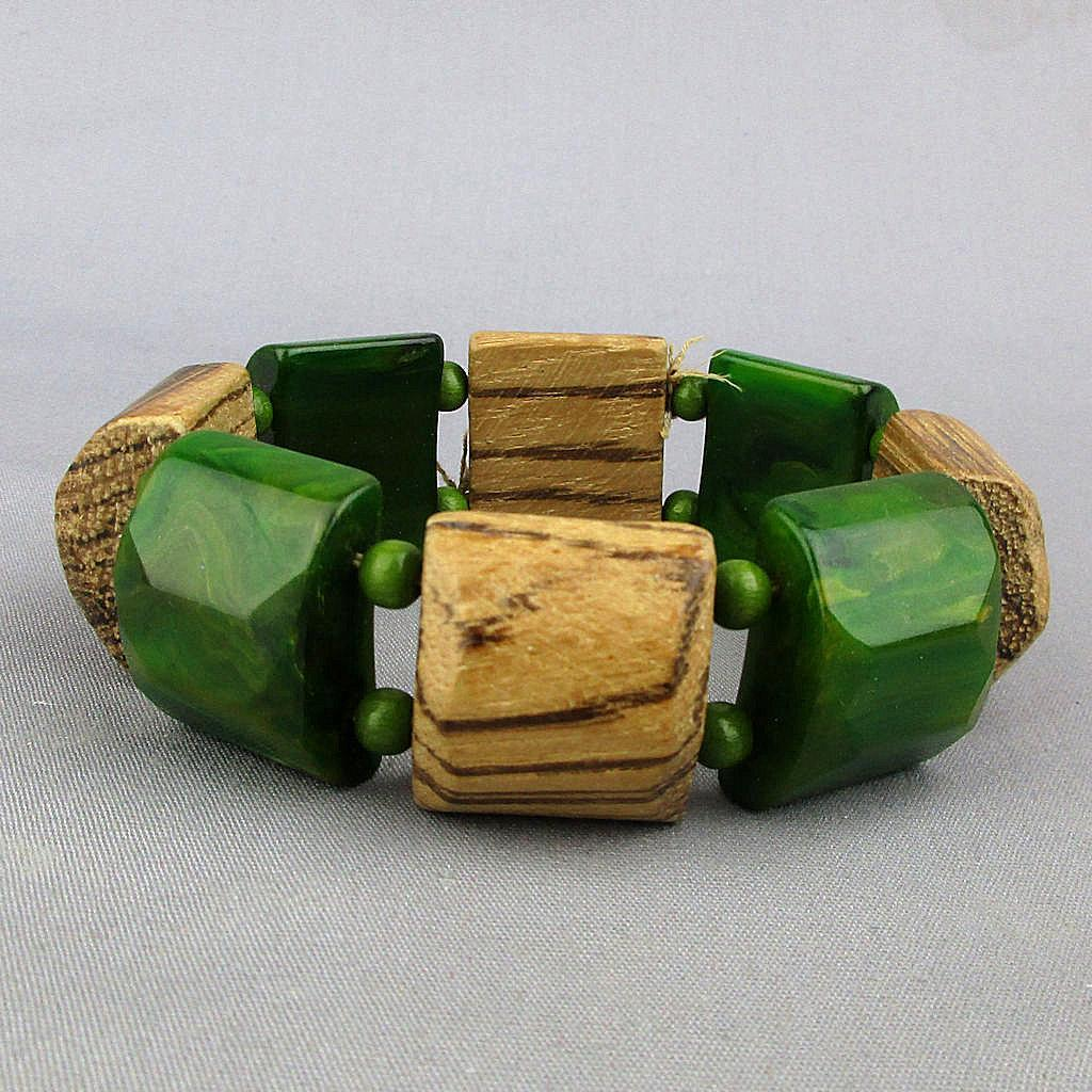 1940s Chunky Bakelite - Wood Stretch Bracelet