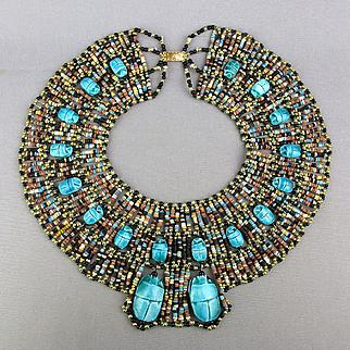 Big Beaded Egyptian Bib Collar Necklace 18 Scarab Amulets