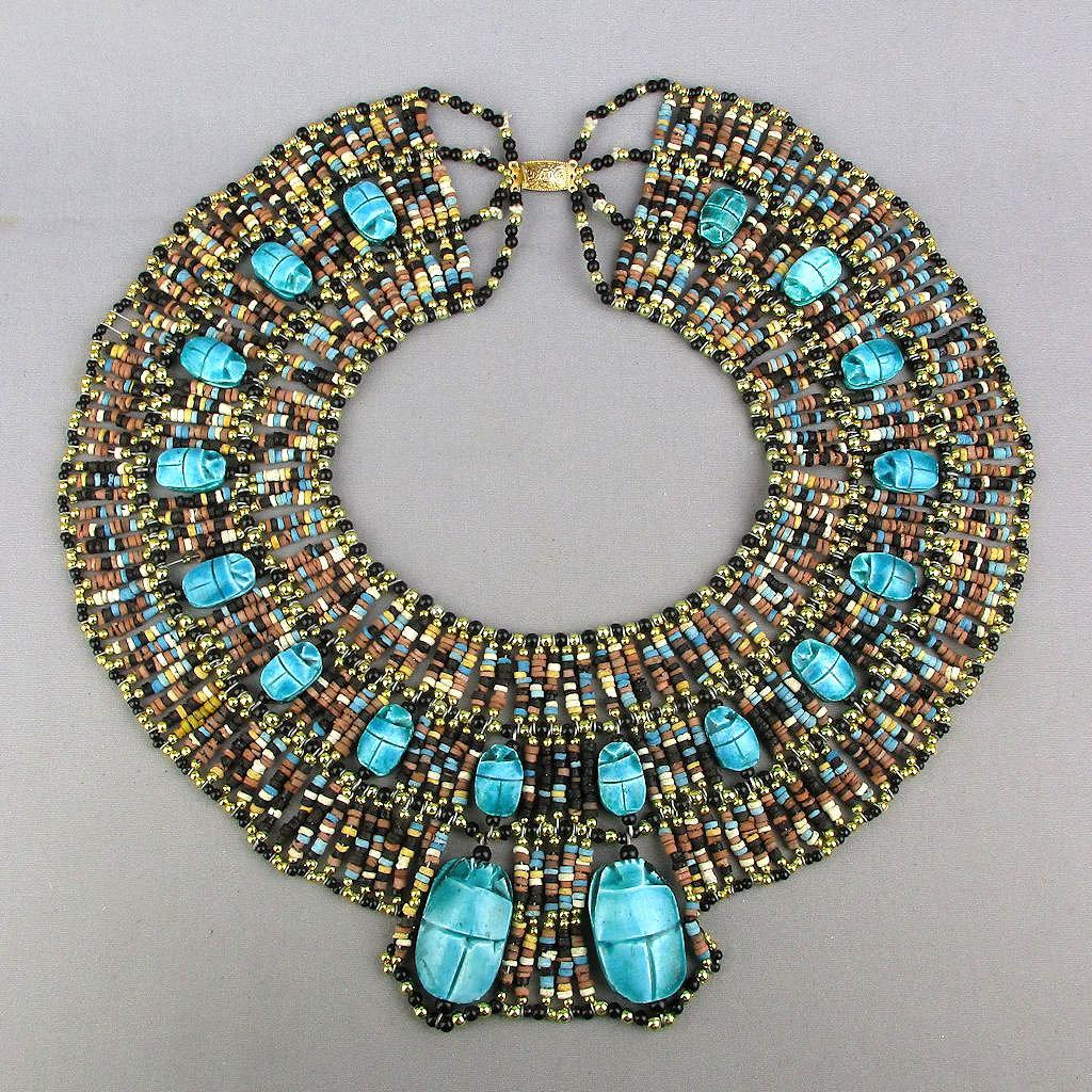 Big Beaded Egyptian Bib Collar Necklace 18 Scarab Amulets