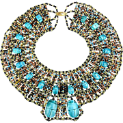 SOLD TO A.C. - Big Beaded Egyptian Bib Collar Necklace 18 Scarab Amulets