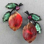 Vintage Austrian Molded Glass Fruit Earrings