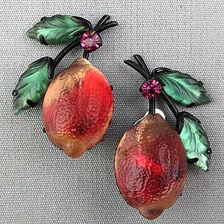 Vintage Austrian Molded Glass Fruit Earrings